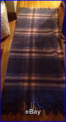 Vintage American Woolen Co All Wool Motor Robe Red, White & Blue Plaid
