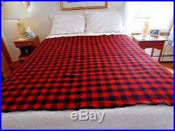 Vintage BUFFALO PLAID BLANKET RED BLACK 100% WOOL Textile Camp 66 x 78