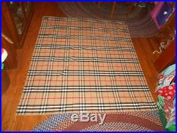 Vintage Burberrys Of London Plaid Cashmere Wool Throw Blanket 65X60