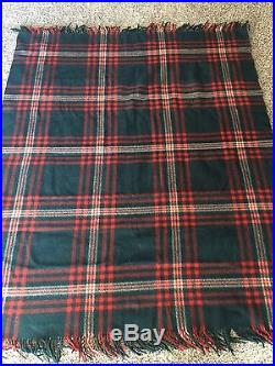 Vintage CAYUSE INDIAN Wool BLANKET PENDLETON Black And Red Plaid 56x68 Winter