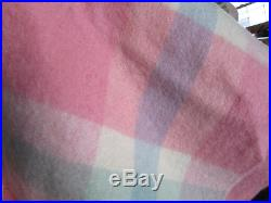 Vintage Chatham PINK PLAID Wool Blanket with Satin Binding 86 x 74 EXC