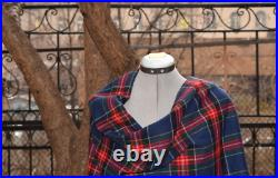 Vintage Checkered Shawl, Blanket Wrap Scarf, Stole, Tippet 100% WOOL