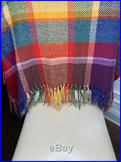 Vintage Churchill Weavers Red Blue Plaid Hand Woven Throw Lap Blanket Wool