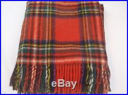 Vintage Heavy Red Royal Stewart Plaid Mohair Wool Blanket Throw with Fringe