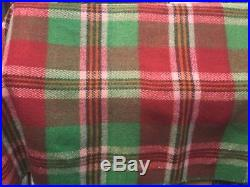 Vintage Heavy Wool Green/Red Plaid Blanket with Fringes