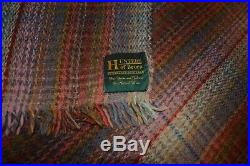 Vintage Hunters of Brora Plaid Gray withPinks Wool Throw Blanket Made in Scotland