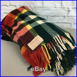 Vintage Jaeger wool blanket 70x60 plaid green red white yellow 50s 60s London GB