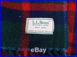 Vintage LL Bean Green Red Plaid Wool Blanket Throw Made in Great Britain Fringed