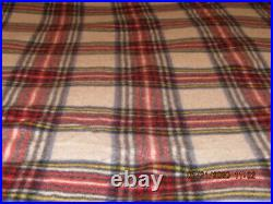 Vintage LL Bean Red And White Plaid Wool Blanket 98x73