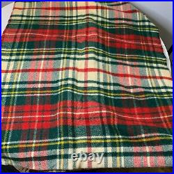 Vintage LL Bean wool blanket throw plaid green red 66x80 outdoor camping