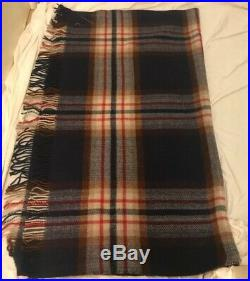 Vintage MARSHALL FIELD and Co 100% Wool Blanket Plaid Made In England With Case