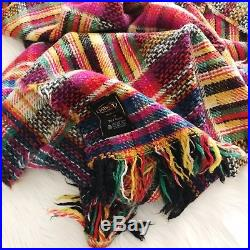 Vintage Missoni Colorful Wool Plaid Throw Knit Blanket Made In Italy Home Decor