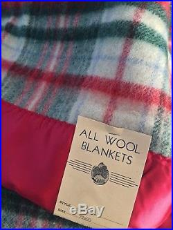 Vintage New With Tag 100% Wool Blanket Red Green Plaid 72 X 90 Satin Trim Nos