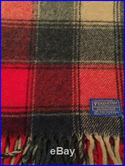 Vintage Pendleton Blanket 100% Virgin Wool SCOTCH PLAID Throw USA Blue Tag