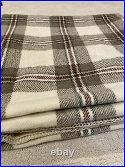 Vintage Pendleton Wool Blanket Brown off White Plaid 88 by 92 Queen USA Made