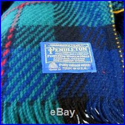 Vintage Pendleton Wool Plaid Blanket Throw Fringed 72 x 63 Made in the USA