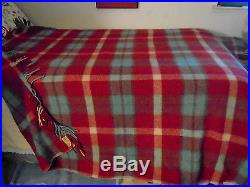 Vintage Portland Woolen Mills ALL WOOL Fringed Plaid Blanket Cabin Red 76 x 60