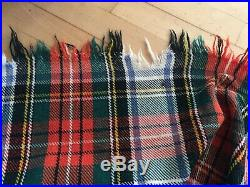 Vintage Pure Scottish Wool Tartan Blanket/Rug