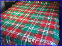 Vintage Queen Blanket Plaid Wool 9 Pounds