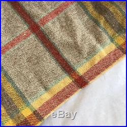 Vintage Traditional Welsh Wool Check Blanket with Cream & Red Plaid, Bed Throw
