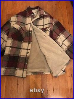 Vintage WOOLRICH Sherpa Blanket Lined Jacket Size Large Brown Plaid