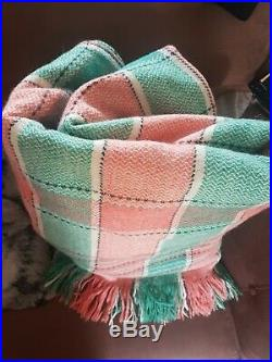 Vintage Welsh Wool Check / Plaid Blanket Pink Green Traditional extra large