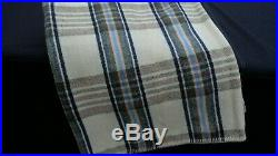 Vintage Welsh wool picnic blanket cream blue brown check plaid 84 x 78 inches