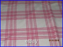 Vintage Wool Blanket LL Bean Pink And White Plaid King 98x85