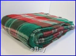 Vintage Wool Blanket Queen Size Plaid 9 Pounds