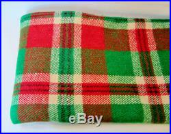 Vintage Wool Blanket RED and GREEN Checkered Plaid CABIN Camp Blanket 88 x 66