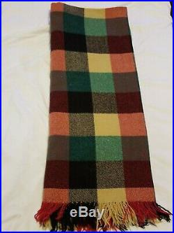 Vintage Wool Christmas Blanket Throw Plaid red green Made Italy Gimbels 50x60
