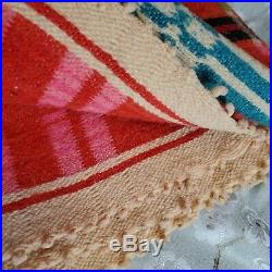 Vintage Wool Handmade Blanket Artisan Native Red Ombre Cross Hatched Plaid 90x60