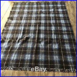 Vintage Wool Plaid Blanket Large Reversible Weighted Heavy Thick Brown And Blue