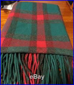 Vintage Wool Plaid Blanket with Fringe in Rustic Greens and Reds