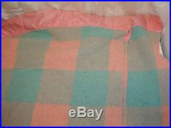 Vintage Wool Plaid Checkered Pink Green Satin Edge Bedspread Blanket 74x84