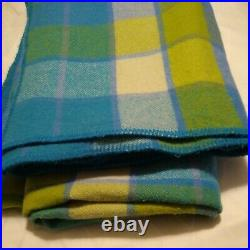 Vintage Wool Queen Green blue teal Plaid Blanket soft colors EUC 88x80