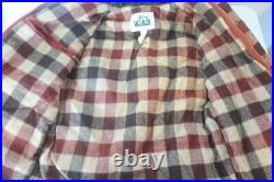 Vintage Woolrich Button Plaid Blanket Lined Sherpa Collar Red Zip Snap Jacket S