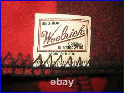 Vintage Woolrich Wool Black/Red Buffalo Plaid Blanket 60 X 70 Made in USA NICE