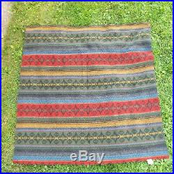 Vintage Woolrich multi color Wool Throw Blanket 58 x 60 Made in the USA. EUC