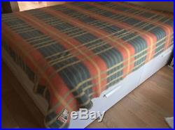Vintage Yellow Peach Blue Green Plaid Wool Blanket made in Belgium by Capri