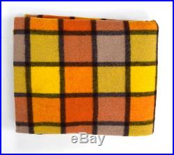 Vtg AMANA Yellow Orange Plaid Wool Fleece Afghan Throw Blanket Cover 59 x 76