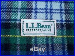 Vtg LL Bean Made in USA Plaid Wool Cabin Camping Backpacking Blanket 92 X 77