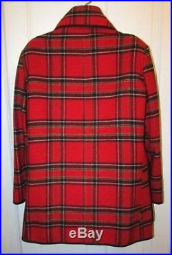 Vtg Men's RED Plaid PENDLETON Quilted Lined Wool Car Blanket Coat 48 L XL Tall