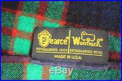 Vtg Pearce Woolrich Made in USA Wool Plaid Cabin Hunting Blanket 54 x 52