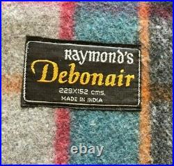 Vtg Raymond's Blue Wool Plaid Blanket 229x152 cm Made in India Never Used