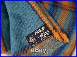 Vtg Wool ALAFOSS Statium Throw Blanket Icelandic Iceland 60 by 82 plaid blue
