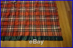 Vtg Wool Blanket Red Green Plaid Satin Binding Cutter Fabric 67 x 82 Penney's