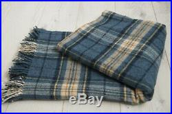 WILLIAM MORRIS WOODFORD Plaid Blanket, Throw Blue Natural Pure Wool