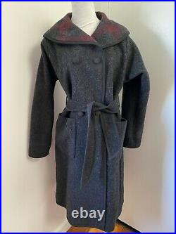 WOOLRICH Wine Charcoal Plaid Belted Wool Blanket Wrap Coat Reversible D'breasted