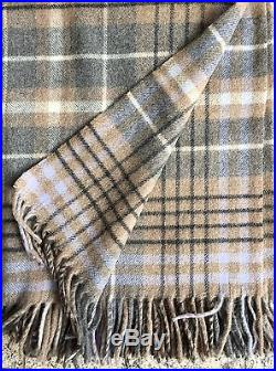 WOOL PLAID WOOL BLANKET BEDSPREAD WITH PART CASHMERE, 135x190CM, Made in Germany